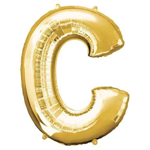 Lettre C Dorée Ballon Géant en Aluminium Gonflage à l'Hélium 81cm Product Gallery Image