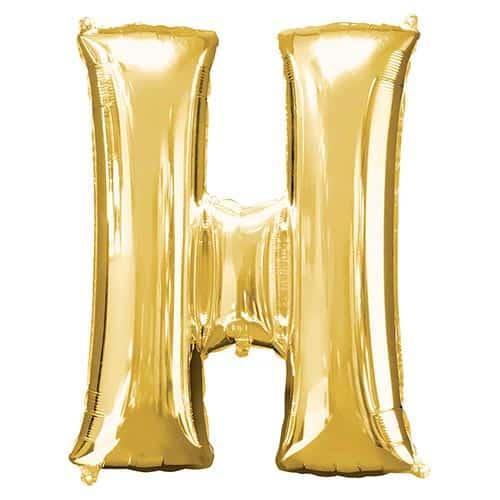 Lettre H Dorée Ballon Géant en Aluminium Gonflage à l'Hélium 81cm Product Gallery Image