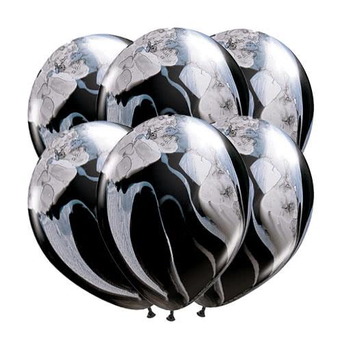 Palloncini In Superfice Elastico In Lattice Di Qualatex In Bianco E Nero Da 28 Cm / 11 Pollici - Confezione Da 25 Product Gallery Image