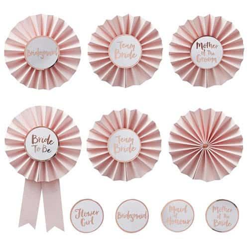 EVJF Team Bride Badges Or Rose - Pack de 6 Product Gallery Image