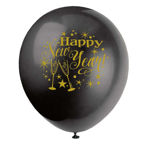 Glinsterende Nieuwjaar Assortiment Biologisch Afbreekbare Latex Ballonnen 30Cm / 12Inch - Pak Van 8 Product Gallery Image